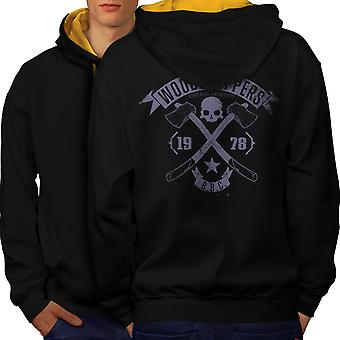 WoodBikerss Club Men Black (Gold Hood)Contrast Hoodie Back | Wellcoda