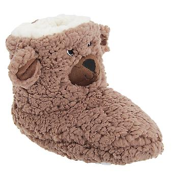 Childrens/Kids Pull On Bear Design Slipper Boots