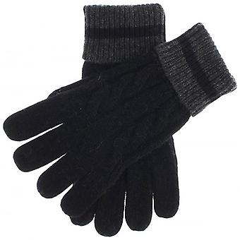 Dents Holwick Cable Knit Gloves - Black/Charcoal
