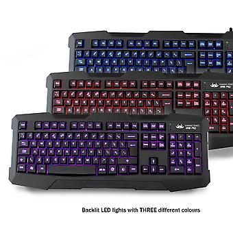 Sumvision Kane Pro Edition 4 In 1 Chaos Pc Gaming Pack Keyboard/chaos Mouse/mat/headset With Mic
