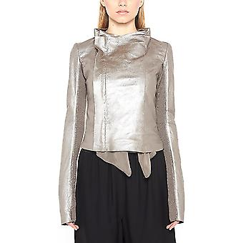 Rick Owens women's RP18S8707LBM980 silver leather jacket