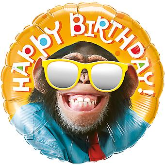 Foil balloon of happy birthday monkey with sunglasses chimpanzee approximately 45 cm