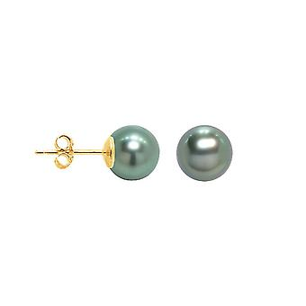 Earrings ears chips woman Tahitian pearls and yellow gold 375/1000