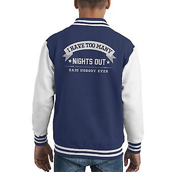 Tenho muitas noites disse ninguém alguma vez infantil jaqueta