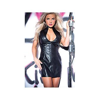 Allure Lingerie AL-17-1402 Faux Leather Studded Dress Lined in Red Satin