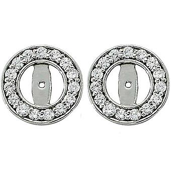 G/SI 1/2ct Halo Round Diamond Studs Earring Jackets 14K White Gold Fits 1/4T (3.5-4mm)