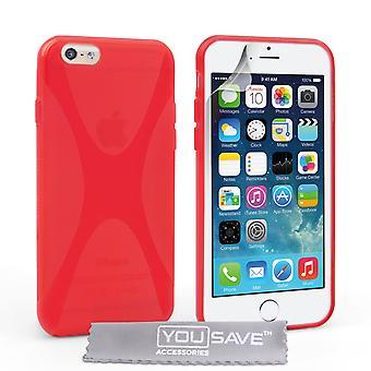 Guarde acessórios Iphone 6 e 6s caixa X-linha do Gel do Silicone - vermelho