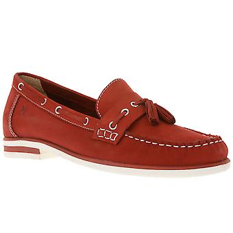 Caprice leather moccasins, boat shoes women Red