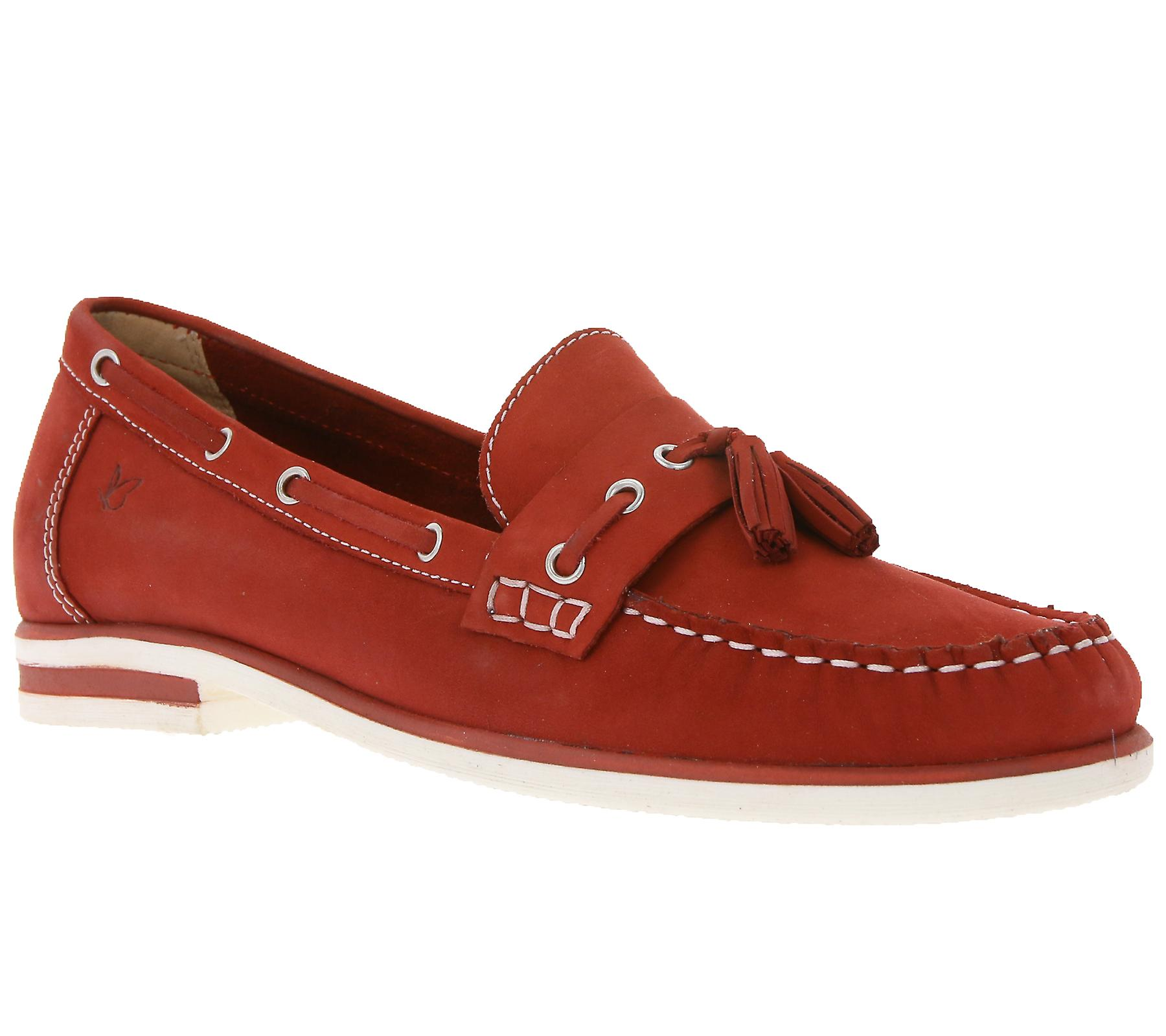 Caprice women leather moccasins, boat shoes women Caprice Red 246e44