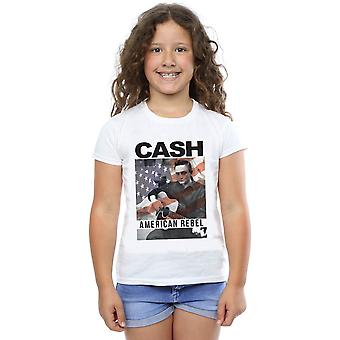 Johnny Cash Girls American Flag Overlay T-Shirt