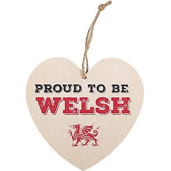 Something Different Proud To Be Welsh Hanging Heart Sign