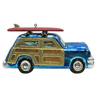 Christmas By Krebs Coastal Surfboard on Blue Woody Car Glass Holiday Ornament
