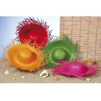 Coloured Straw Beach Hats - Pack of 4