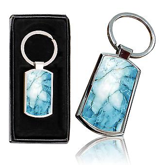 i-Tronixs - Premium Marble Design Chrome Metal Keyring with Free Gift Box (1-Pack) - 0013