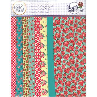 Dress Your Doll Making Couture Fabric Set 8pc-Red Roses