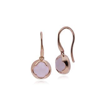 Gemondo Rose placcato argento Sterling rotonda orecchini di quarzo rosa