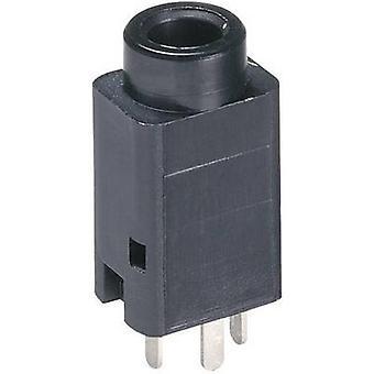 Lumberg 1502 01 3.5 mm audio jack Socket, vertical vertical Number of pins: 3 Stereo Black 1 pc(s)