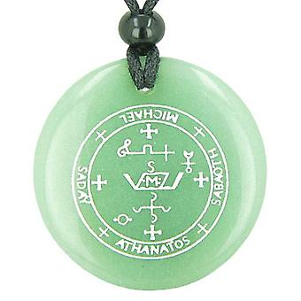 Sigil af Ærkeenglen Michael magiske Amulet grøn aventurin cirkel åndelige vedhæng halskæde