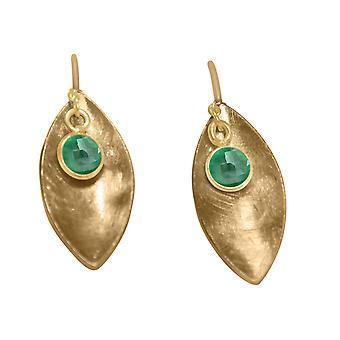 Gemshine - damer - øredobber - øredobber - 925 sølv - forgylt - Marquise - minimalistisk - design - smaragd - grønne - 3 cm