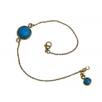 Armband goud verguld armband - armbanden - turquoise - blauw - faceted - 19 cm