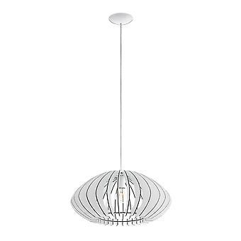 Eglo Cossano Modern White Wash Wood Pendant Saucer Lamp