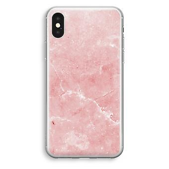 iPhone-XS Transparant Tasche (Soft) - rosa Marmor