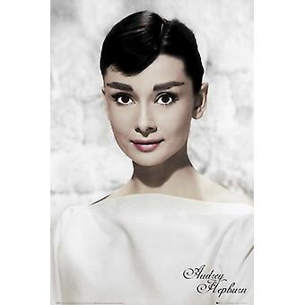 Audrey Hepburn - White Portrait Poster Poster Print