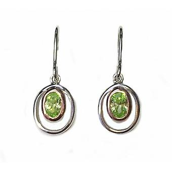 Cavendish French Silver and Peridot Green CZ Rennie Mackintosh Style Earrings
