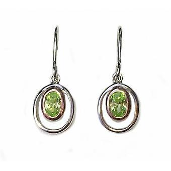 Cavendish franska Silver och Peridot grön CZ Rennie Mackintosh stil örhängen