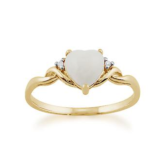 Gemondo 9ct Yellow Gold 0.47ct Opal & Diamond Heart Ring