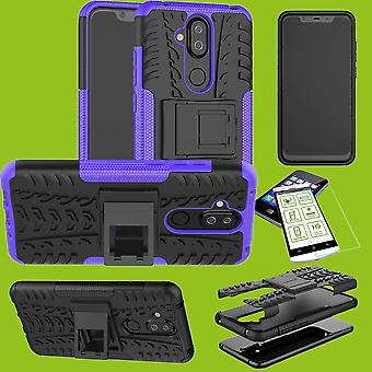 For Nokia 8.1 2018 (X 7) 6.18 inch hybrid case of 2 piece purple + tempered glass bag case cover sleeve new
