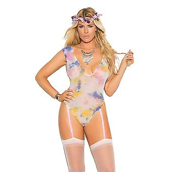Womens Plus Size V Neck Opaque Tie Dye Festival Teddy Bodysuit Lingerie