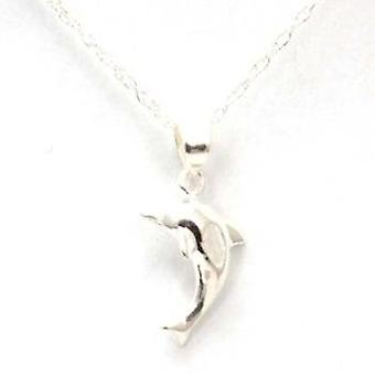 TOC Girls Sterling Silver Clear CZ Dolphin Pendant Necklace 14
