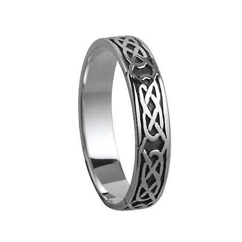Silver oxidized 4mm Celtic Wedding Ring