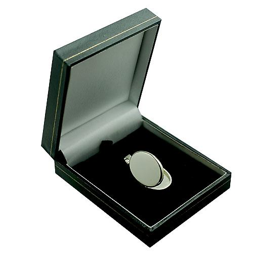 9ct White Gold 26x19mm plain flat oval Locket