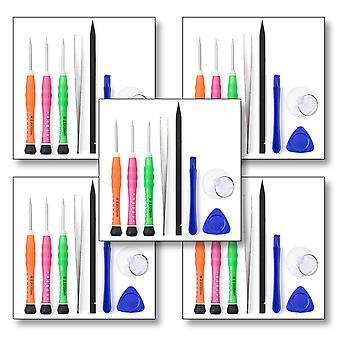 Antal 5 - 8st Tool Kit för alla iPhone modeller - inkluderar Pentelobe skruvmejsel