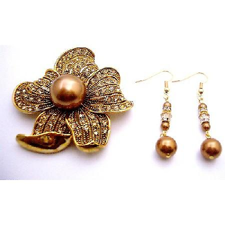 Holiday Gift Brooch & Earrings in Copper Pearl Golden Shadow Crystals
