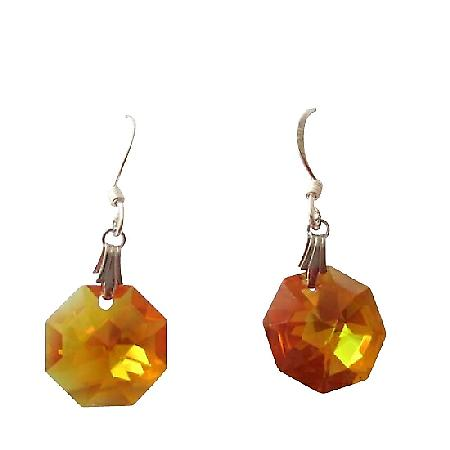 Topaz Octagon Swarovski Crystal & Sterling Silver Earrings