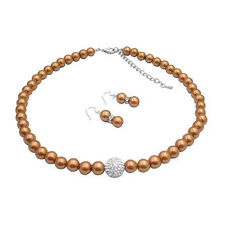 Nickle Free Beautiful Necklace Adorned W/ Pave ball CZ Copper Gold Pearl Set