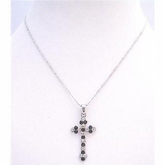 Black Cross Pendant Black Beaks & Embedded with Diamante Necklace Gift