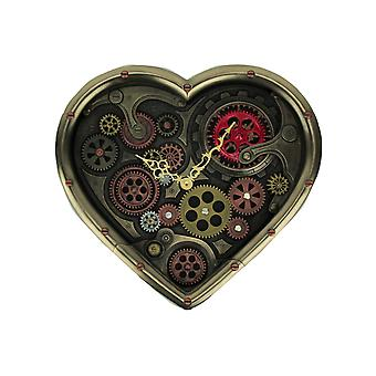 Metallic Brass Steampunk Moving Gears Heart Shaped Wall Clock