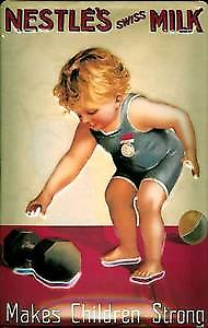 Nestles Milk makes children strong embossed metal sign   (hi 3020)