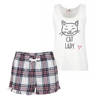Cat Lady Pink Tartan Pyjamas