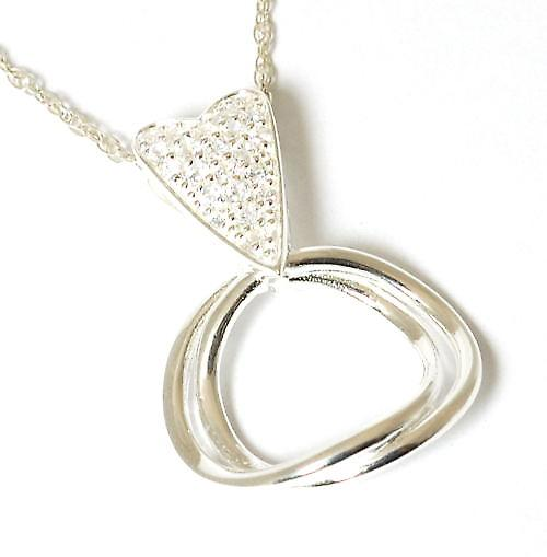 Toc Sterling Silver Crystal Heart and Interwined Loop  ~ Entsafter Loop