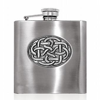 English Pewter 6oz Celtic Disc Hip Flask - Cel861