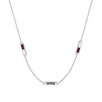 Fordham University Fordham Engraved Triple Station Necklace In Maroon And White