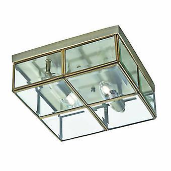 2 Light Flush Ceiling Light Antique Brass