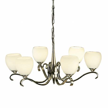6 lumière Multi Arm Ceiling pendentif Chandelier Polished Nickel, Matt Opal Glass