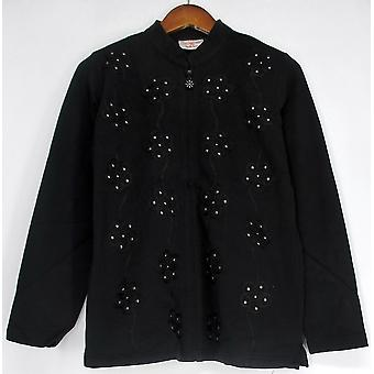Quacker Factory Mandarin Collar Zip Jacket w/ Black A202598