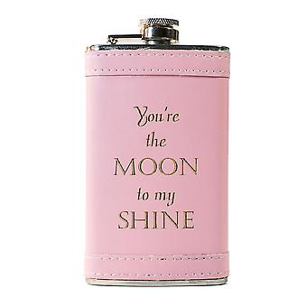 6oz pink you're the moon to my shine leather flask l1